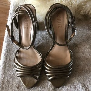 Metallic bronze Schutz sandals
